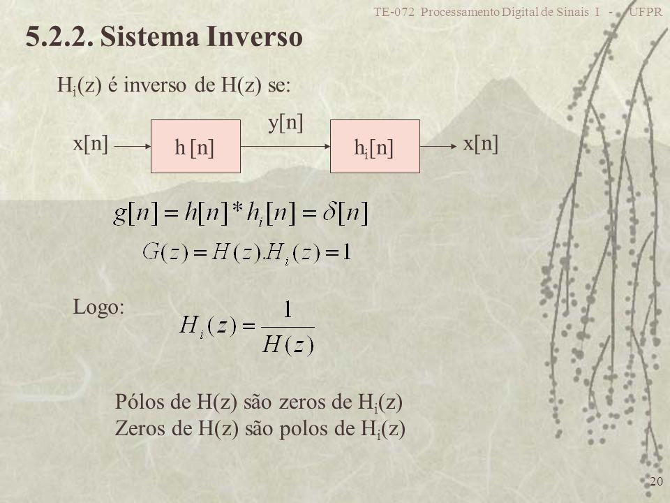 5.2.2. Sistema Inverso Hi(z) é inverso de H(z) se: h [n] hi[n] x[n]